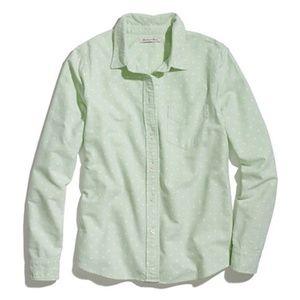 Madewell Green Polka Dot Button Down Oxford Shirt